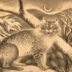 """On this #InternationalCatDay, check out this 1939 print, """"Screeching Bob-Cat"""" by artist Rosella Hartman. It was commissioned under the WPA Federal Art Project, now part of the GSA Fine Arts Collection on loan to @uistanleymuseum. See more works of art at https://t.co/U1HuMBT4kf"""