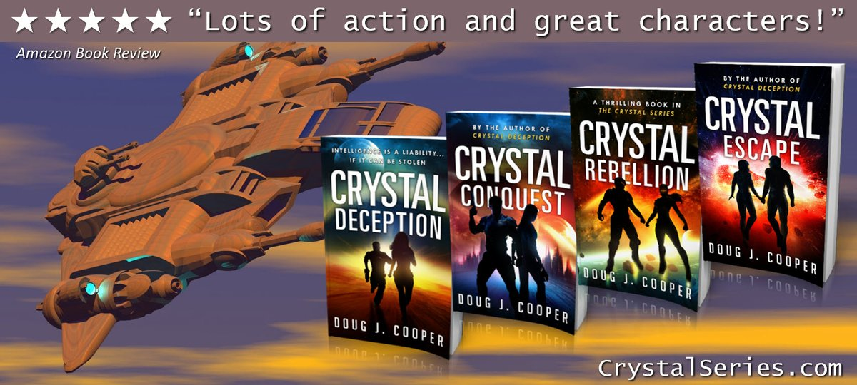 """""""A white-knuckle thrill ride.""""  The Crystal Series – futuristic thrill rides Start with first book CRYSTAL DECEPTION Series info: http://CrystalSeries.com Buy link: https://www.amazon.com/default/e/B00F7IJBP0… #kindleunlimited #scifipic.twitter.com/02358TPEbr"""