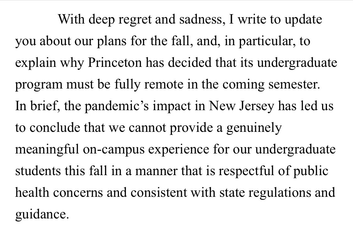 NEW: Princeton entirely remote for fall