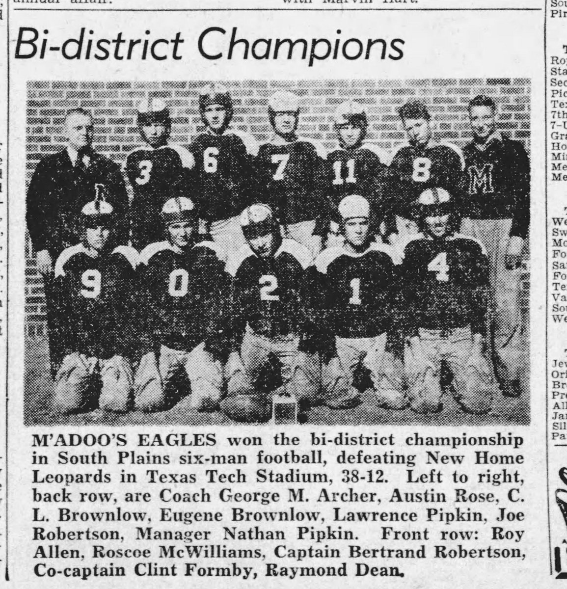In an unofficial (@uiltexas didnt have playoffs for 6man) Bi-District championship game in 1940, McAdoo defeated @NewHomeISD 38-12 at Texas Tech, cant be many 6man games played at Texas Tech I would guess @Texas1AFan @pchristy11 https://t.co/7HRf4oxij6