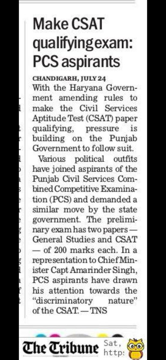 @capt_amarinder Cm sir, i dont know how you were commissioned into Indian army known for timely action and fierce response. Your response to genuine demand of punjab pcs candidates has been pathetic. 5 years aspirants have been waiting for CSAT paper to be made qualifying pic.twitter.com/lyfKw3dXTR