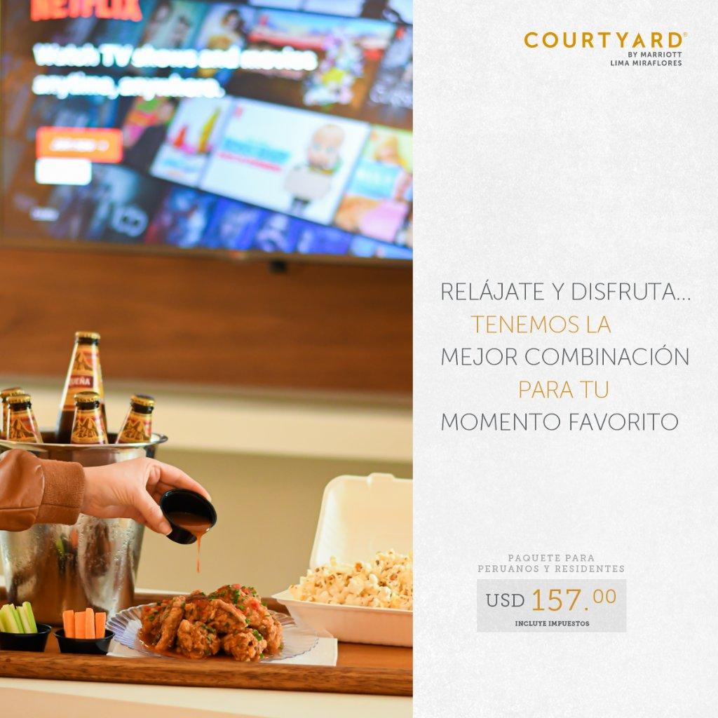 ¡Alójate desde USD157 y disfruta de la mejor combinación que hemos creado para ti! Elige entre alitas + chilcanos ó pop corn + cervezas locales 😜  Reservas: reservations.peru@marriott.com Más información: https://t.co/wwSIC8JnCV https://t.co/XzCPDs53ba