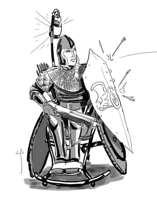 A greyscale drawn image of a wheelchair using warrior deflecting arrows with her shield. In her other hand she holds a crossbow.