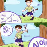 Image for the Tweet beginning: Who gave @amazingphil an axe?