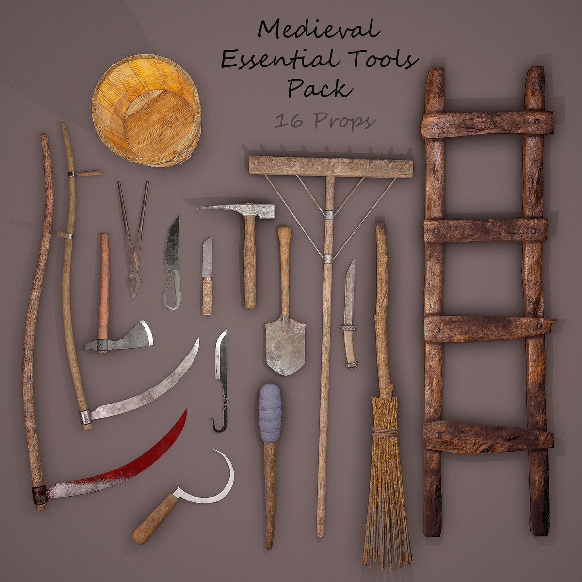 #anotherone #new pack available on our cgtrader page.  Medieval essentials tools. Made by our #talented #team. Optimised for #game engines, #VR #3D #model #maya #3dartist #3dmodel #cgtrader #pack #medieval #3dart #animation #cgi #tools  https://t.co/zPeesmJjL3 https://t.co/HUH48b49jl