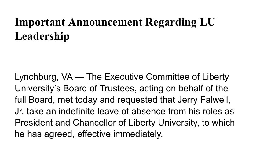 """NEWS: Jerry Falwell Jr. is taking """"indefinite leave of absence"""" from Liberty University. https://t.co/kl8SF8Omcy"""