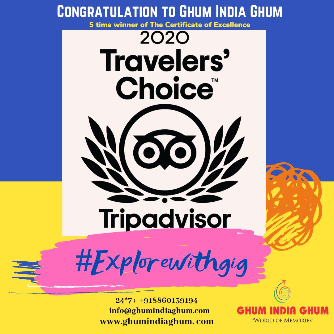 Ghum India Ghum earned a Certificate of Excellence 5th time in a row. GIG been recognised for receiving consistently great reviews from its valuable clients #tripadvisor #eatouttohelpout #Warriors4SSR #exploreindia #IncredibleIndia #rajasthantourismpic.twitter.com/frJNbWB6tI