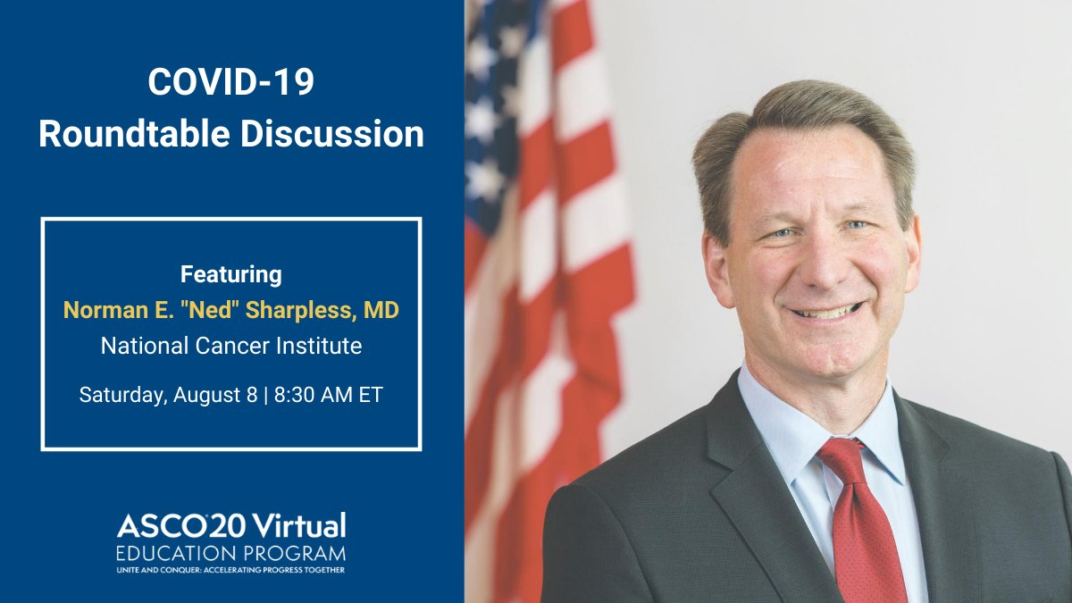 📅 Dont forget to join us during the #ASCO20 Ed Program Opening Session tmrw @ 8:30 AM ET for a #COVID19 roundtable discussion w @NCIDirector