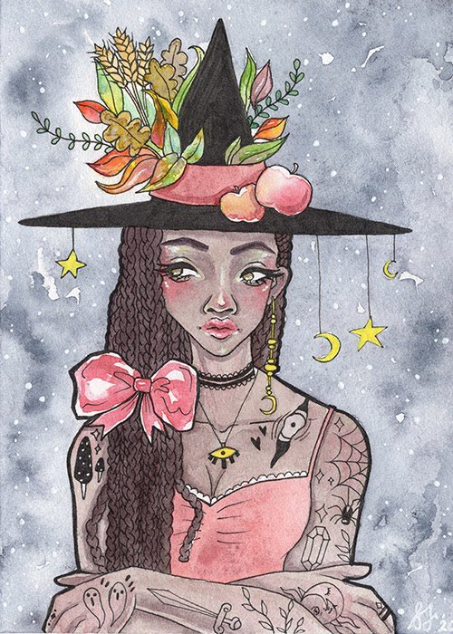 Hello everyone! Here's my first Autumn Witch painting of the year! She'll be available as a print (and original) in my Spooky Autumn shop update, in early September! #autumnvibes #Halloween #ArtistOnTwitter #artshare #art #painting #witchpic.twitter.com/bq9Pvlr3YO