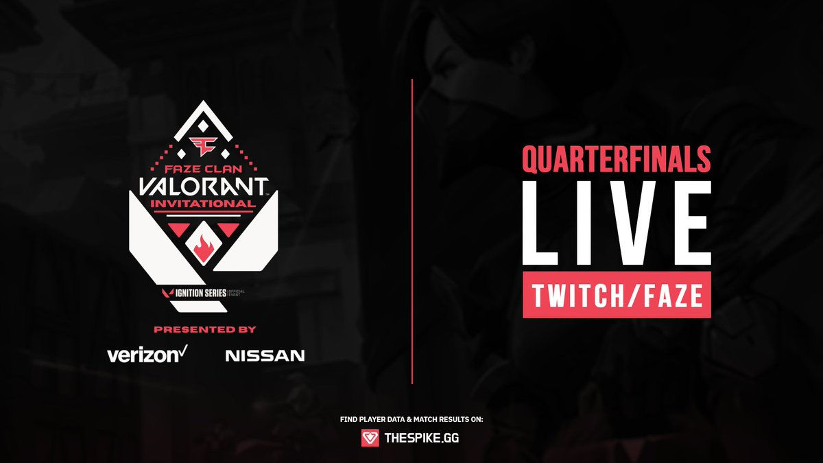 📣 FaZe Clan VALORANT Invitational QUARTER FINALS are now LIVE. Powered by @NissanUSA & @Verizon @Sentinels vs @FaZeClan 📺 twitch.tv/FaZe @Cloud9 vs @Envy 📺 twitch.tv/nerdstgamers Official Data Provider of the event: 📊 thespike.gg/events/41