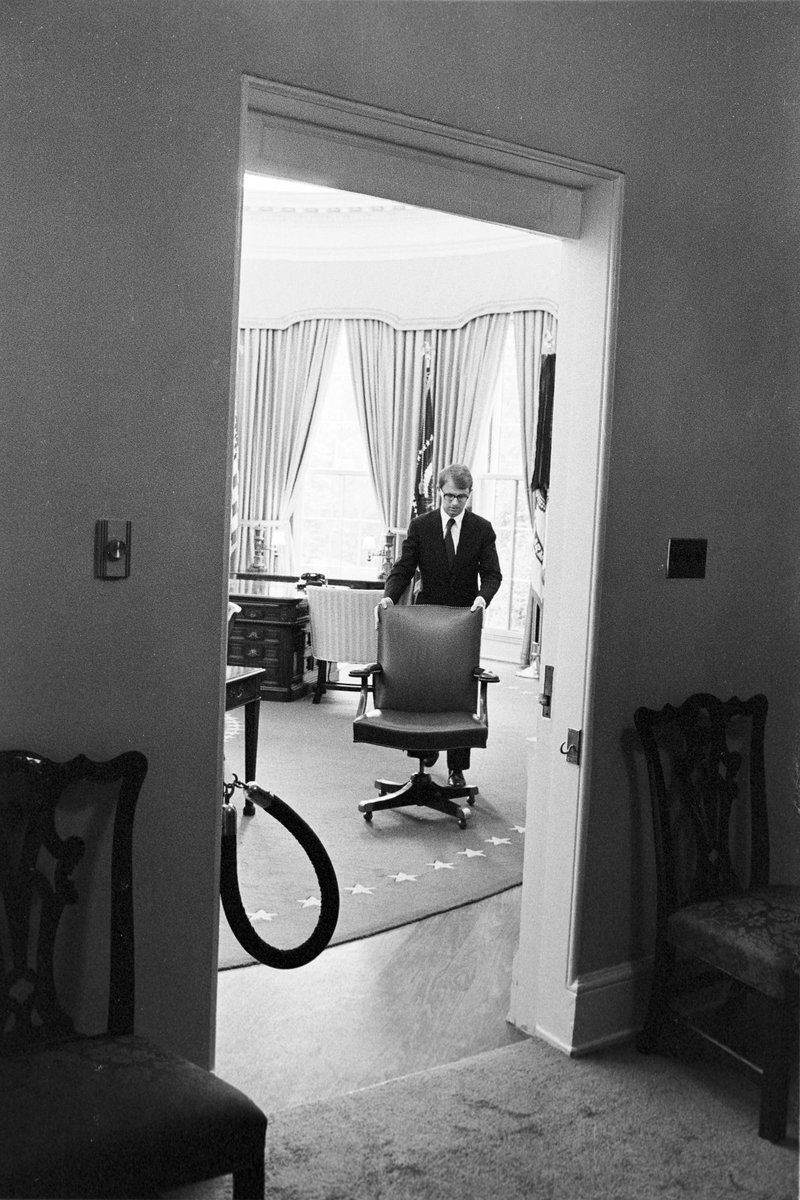 After resignation, Nixon's chair is moved out of Oval Office, this week 1974: