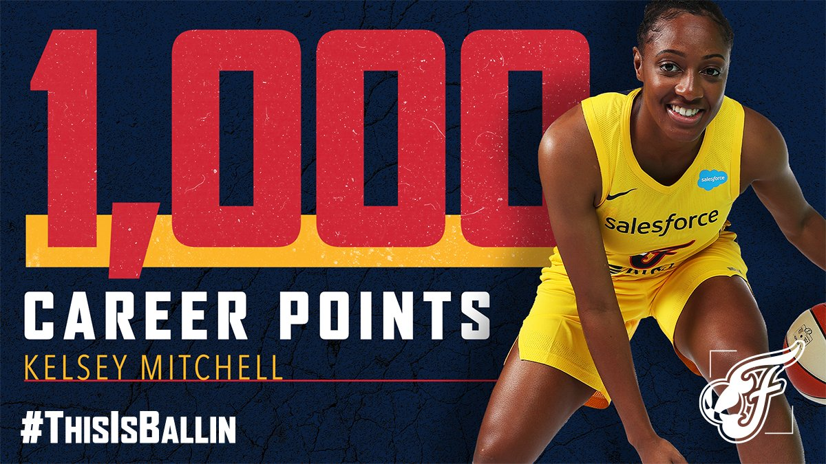 There it is‼️ Second fastest to reach 1,000 points in franchise history 🔥  Congrats, Kelsey Mitchell!  #ThisIsBallin https://t.co/TQeKjMgvU8