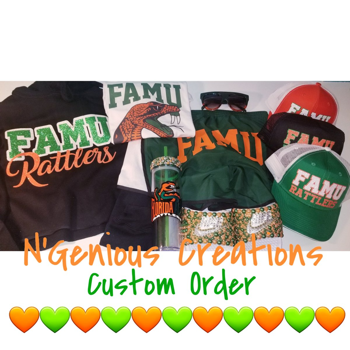 Custom order done for a student at FAMU. Contact us for any custom apparel/accessories  NgeniousCreations@gmail.com No order is too big or small. #CustomTees #CustomTshirts #CustomApparel #FAMU #OrangeAndGreen #HBCU #NgeniousCreationspic.twitter.com/99pBxBqztX