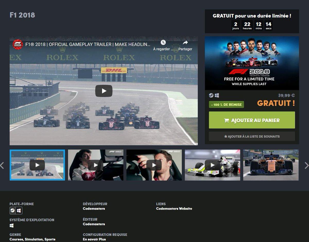 """🚨 ALERTE #BONPLAN #F1 !!! 🚨  F1 2018 gratuit chez Humble Bundle !  Nota (arriva)bene : - Oui le jeu est buggé. - Oui c'est 2018 donc """"vieux"""". - Oui ce n'est pas sur console.  MAIS C'EST GRATUIT ! 🥳  ⛓️ https://t.co/JzNhwe8KwL https://t.co/6new7XWQL9"""
