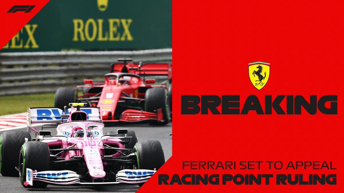 [#Formule1] 🔴 Ferrari, McLaren et Renault s'unissent pour faire appel de la décision de la FIA concernant l'affaire des écopes de frein illégales de Racing Point.  L'écurie a écopé d'une amande de 400 000 € et d'un retrait de 15 points aux constructeurs.  #Formula1 #F1 #F170 https://t.co/fK6JAYFRID