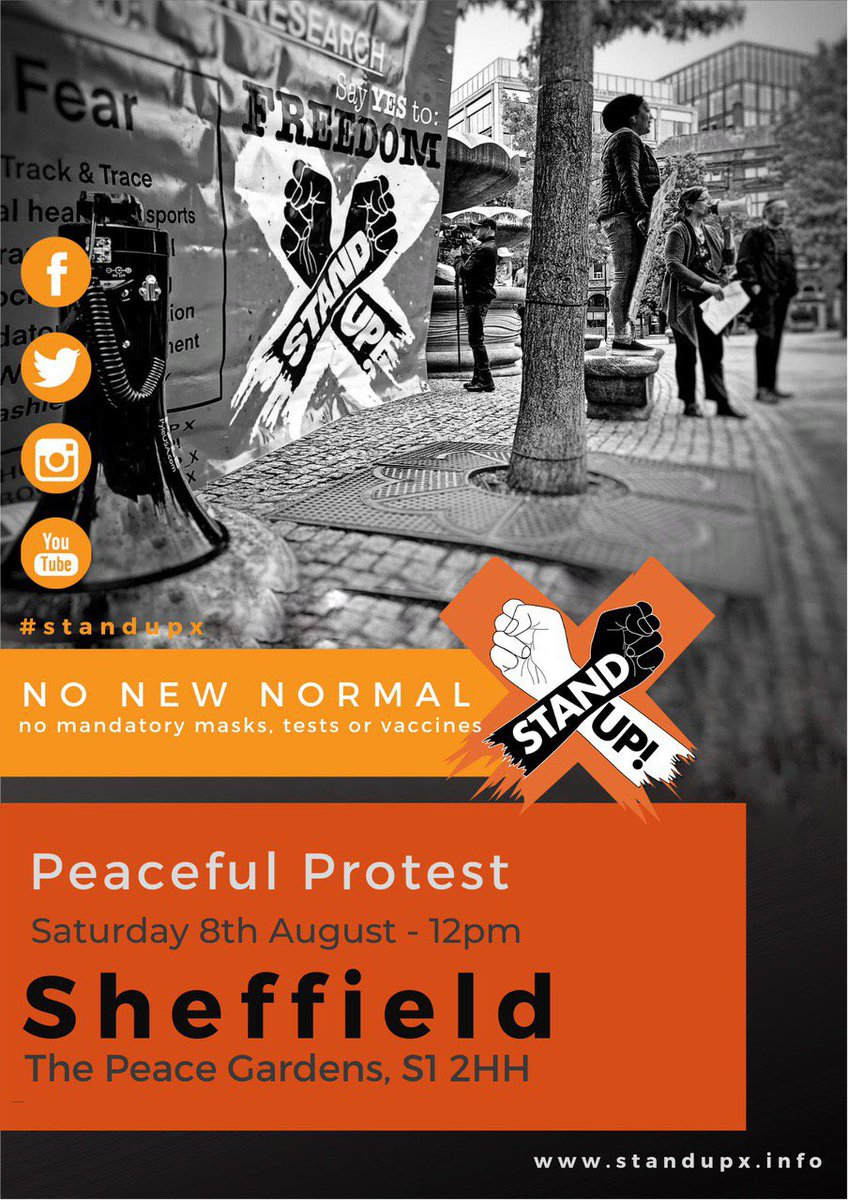 Our protests this weekend please come along we are so thankful for everyone who is supporting our group 🧡  #londonprotest #sheffield #leeds #leedsprotest #lockdown #corruption #maks #NoMask #awake #media #news #protests2020 #HumanRights #boris #sadiq #Brighton #sussex https://t.co/mt96QPpXfQ