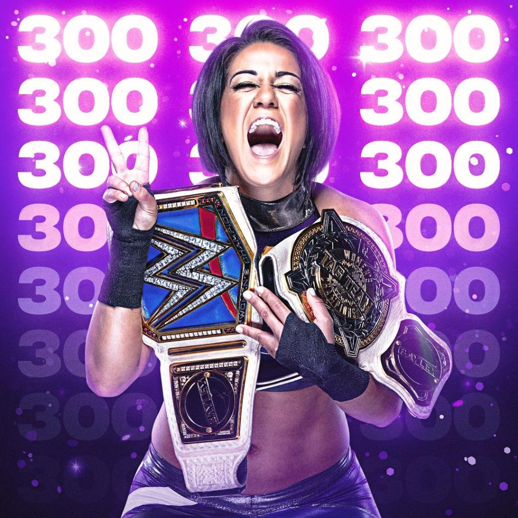 Your Role Model @itsBayleyWWE has been #SmackDown #WomensChampion for 3️⃣0️⃣0️⃣ days!