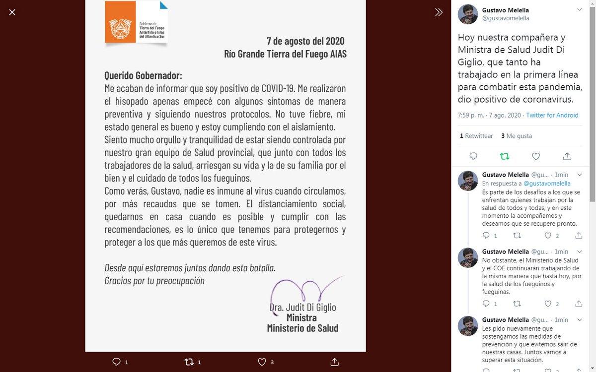 La Ministra de Salud de la provincia, Judit Di Giglio, dio positivo para COVID-19.pic.twitter.com/Z5ytXGxiTE