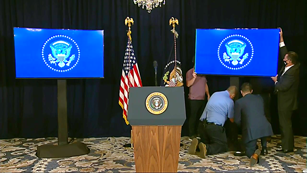 Balltoom at his NJ Golf Club being set up for Pres Trumps news conference, now set for 715pm/ET.