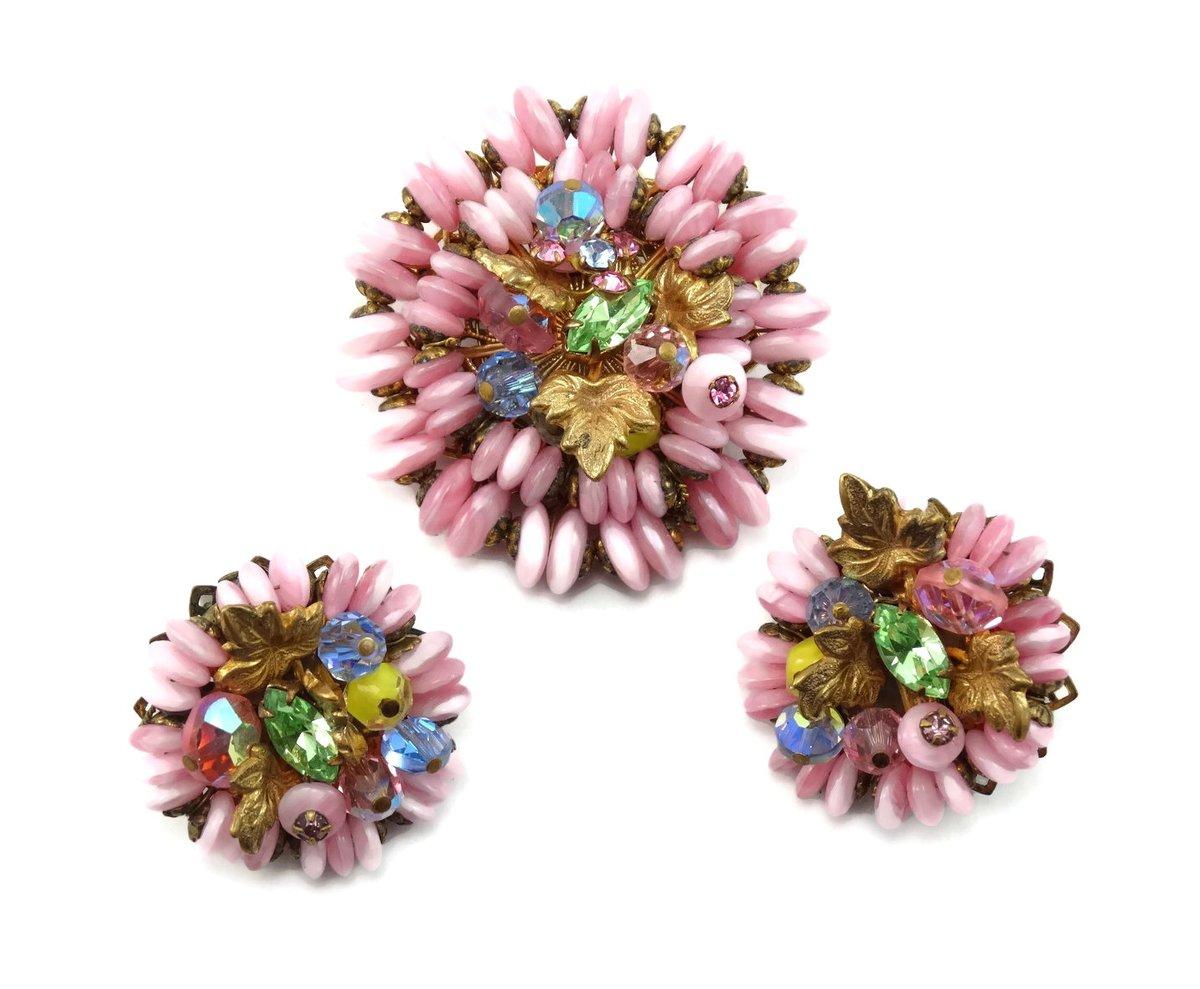 Vintage 1950s JONNE House of SCHRAGER Art Glass Rhinestone Brooch & Earring Parure #pin https://etsy.me/2ldGa8Hpic.twitter.com/UgfD5uLB0u