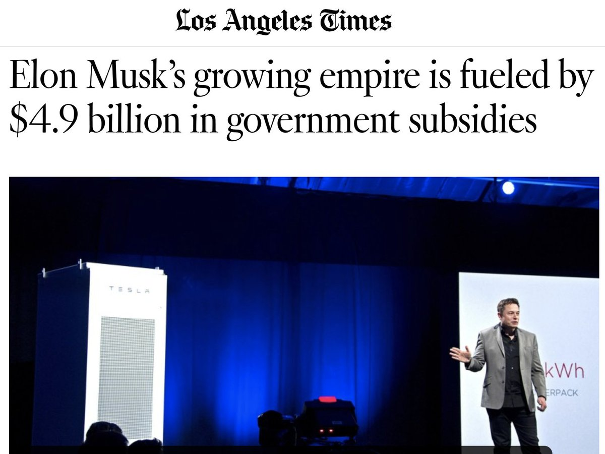 Every time Elon Musk pokes fun at government assistance for the 99%, remember that he would be worth nothing without $4.9 billion in corporate welfare. Oh, Elon just l-o-v-e-s corporate socialism for himself, rugged capitalism for everyone else. twitter.com/elonmusk/statu…