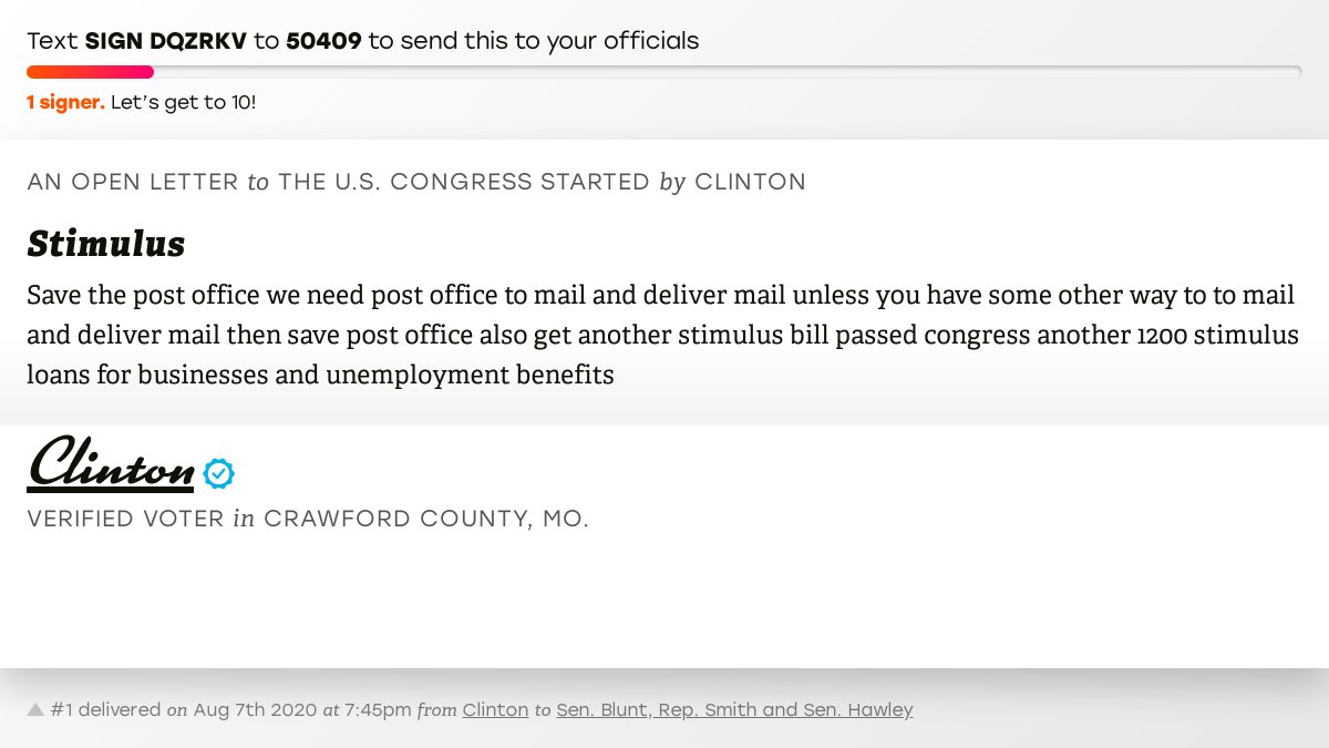 "🖋 Sign ""Stimulus"" and I'll deliver a copy to your officials: https://t.co/7QZmgIb2g9  📨 No. 1 is from Clinton to @RoyBlunt, @RepJasonSmith and @SenHawleyPress #MO08 #MOpolitics #VoteByMail https://t.co/DX8ZF57lOb"