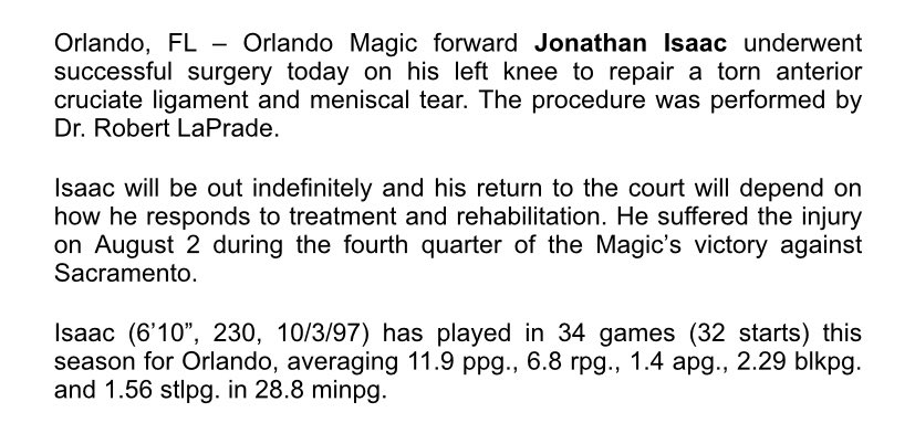 Get well soon, Jonathan. RT @Magic_PR: PRESS RELEASE: Jonathan Isaac undergoes successful surgery to repair torn ACL https://t.co/1Fl72CuoGe
