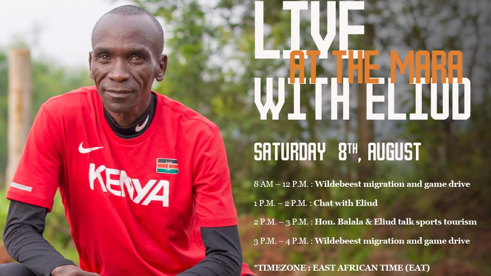 Join us Live At The Mara with Eliud! Experience a magical day with the world's greatest marathoner by visiting https://t.co/nFmE4BWvRH #EliudAtTheMara #TheMagicAwaits https://t.co/KRxxW1H22d