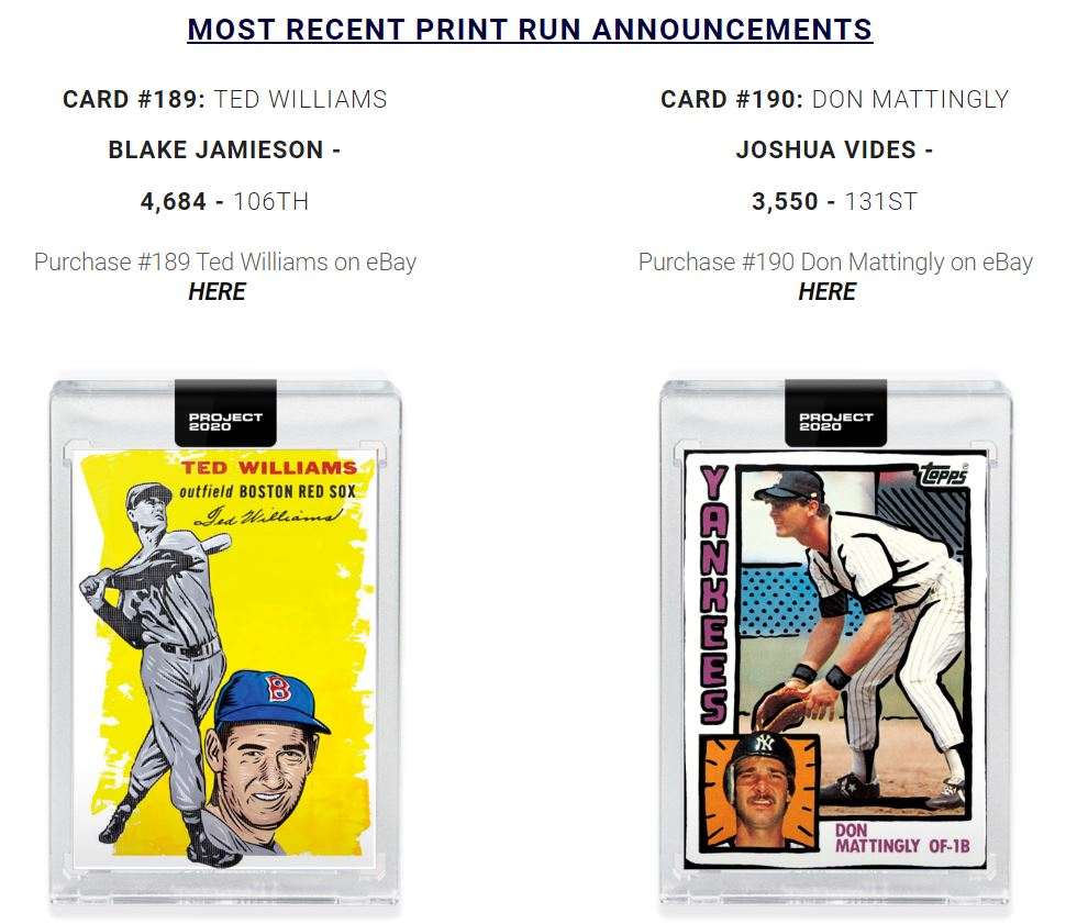 #Project2020 Print Runs Released  Back to 50% for the week after Blake Jamieson's Ted Williams squeaked into my range at 4,684 and the Vides Mattingly was at the top of my range coming in at 3,550.  Two big cards up tomorrow!  Website update soon: https://www.crtsportscards.com/project-2020-topps…pic.twitter.com/3EW6aub3Se