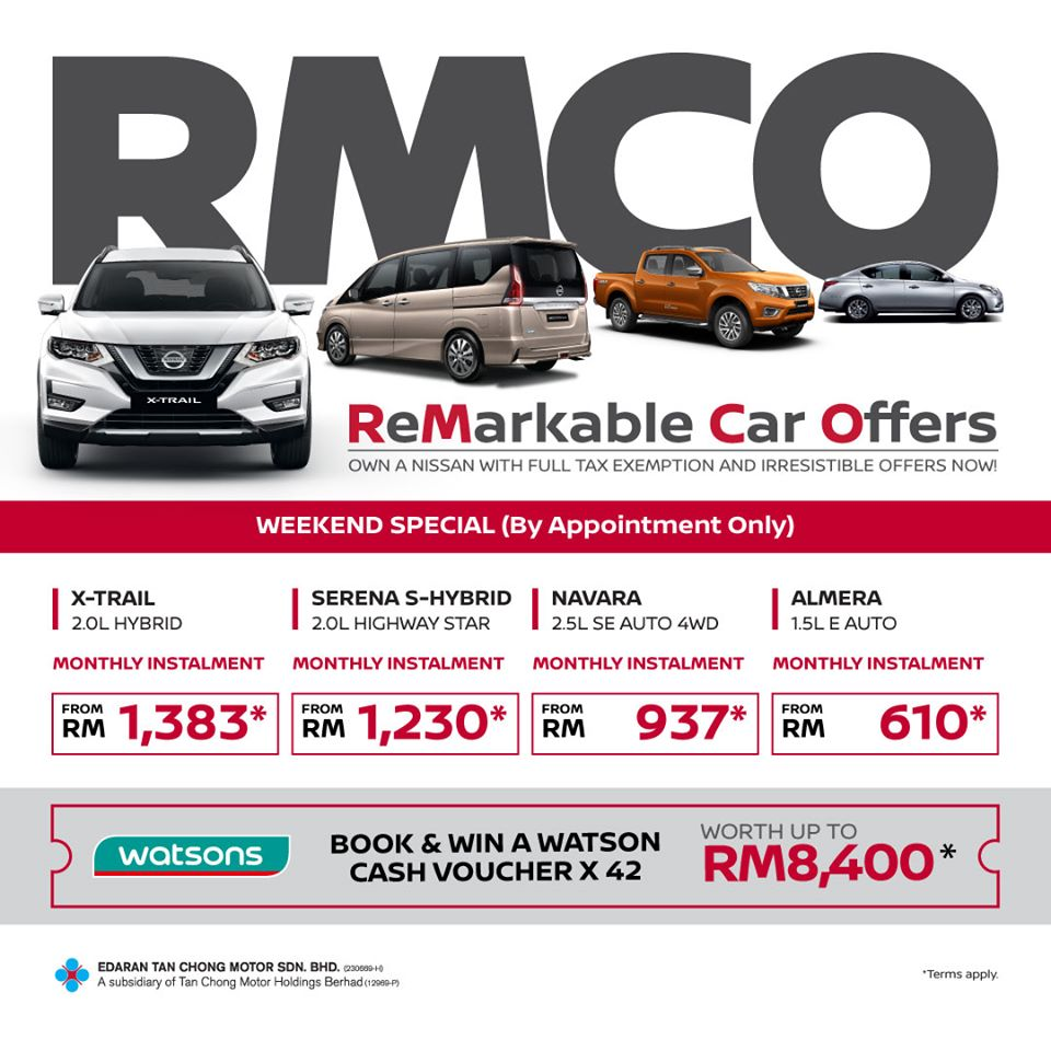 [BY APPOINTMENT ONLY] Check out our offers and save yourself up to RM12,000* with sales tax exemption at selected showrooms this weekend between 10am and 8pm.  Stand to win Watsons vouchers. Contact our Sales Advisors to make an appointment today or visit https://t.co/x8cxoNg3OD https://t.co/vjhAF1SVp8