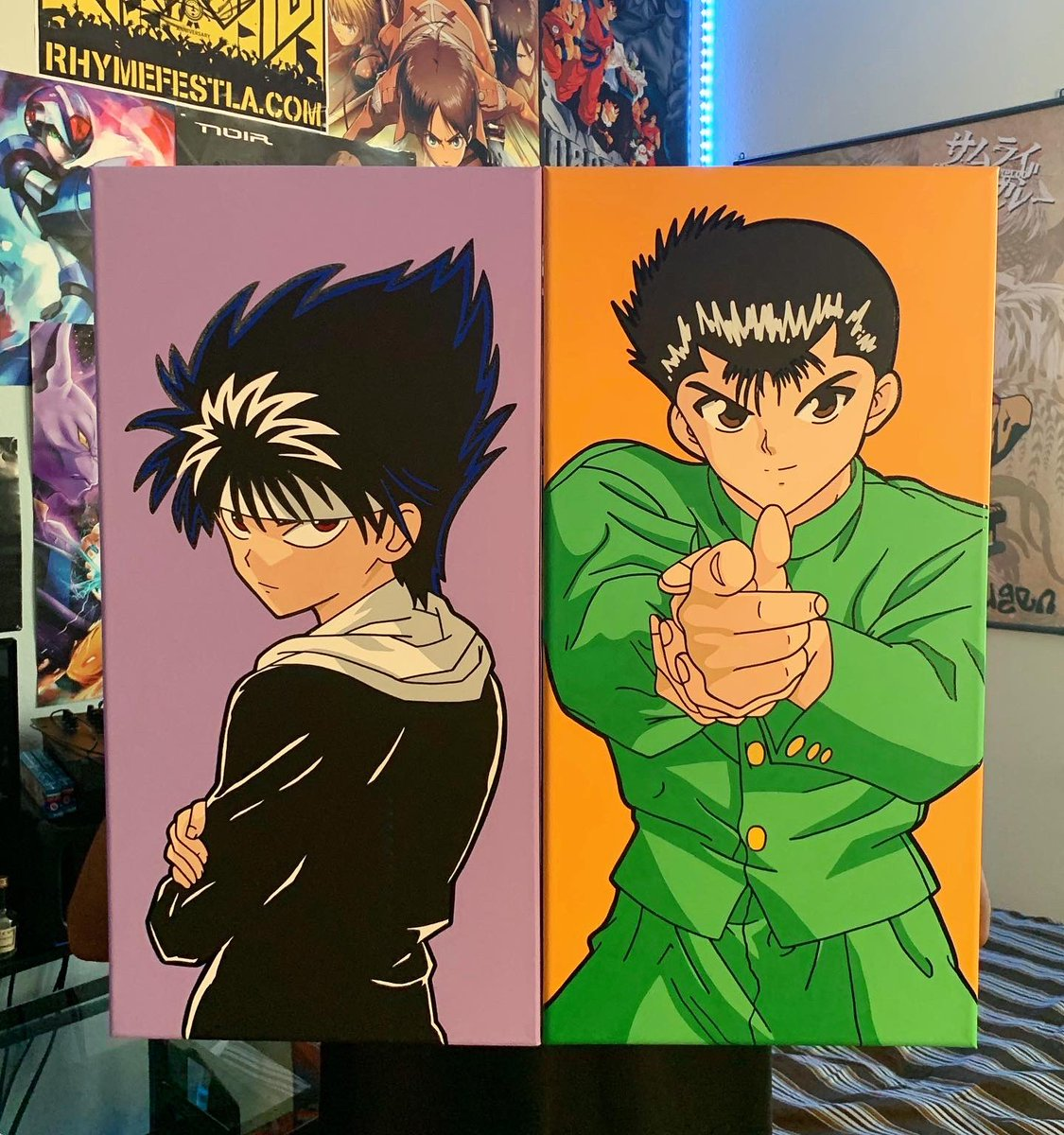 Yusuke & Hiei Painted On 12x24 Canvases