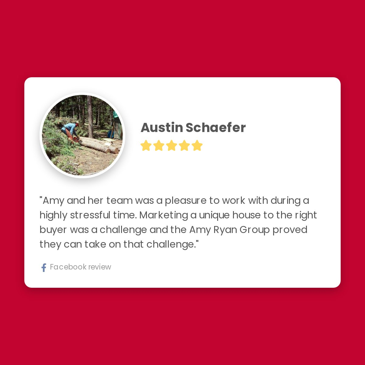 5 Star Review from Austin Schaefer for Amy Ryan Group: Amy and her team was a pleasure to work with during a highly stressful time. Marketing a unique house to the right buyer was a challenge and the Amy Ryan Group proved they can take on that challenge. pic.twitter.com/bpWKBUavGt