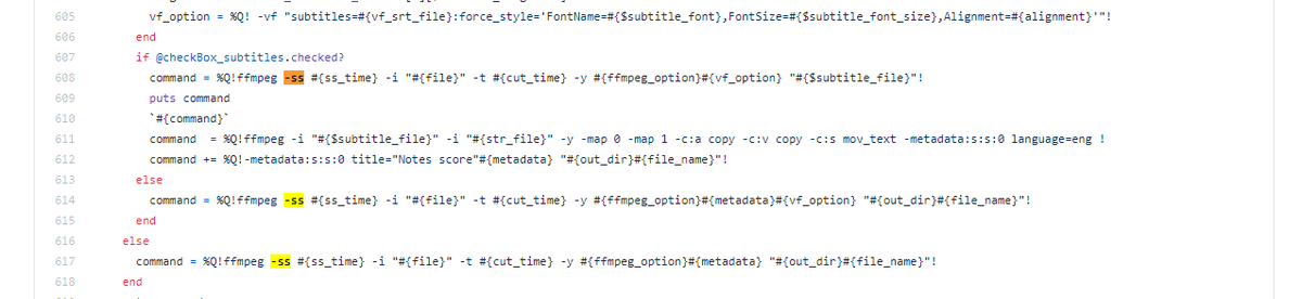 @mozory831 ffmpegで切り出す時に、開始地点を -ss オプションで指示するのですが、下記記事の通り -i より前後で動作が変わります。もしかすると-i