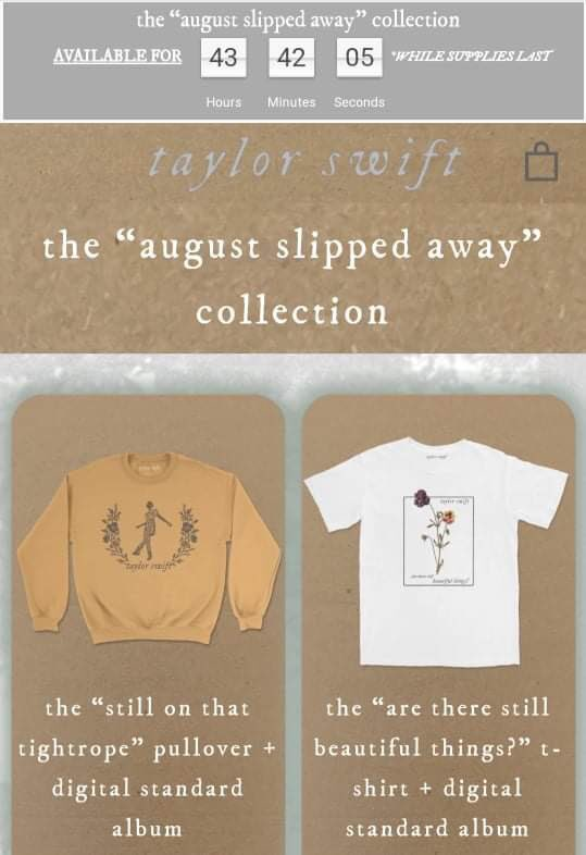 """B2 FOLKLORE MERCH PH GO """"AUGUST SLIPPED AWAY COLLECTION""""   LIMITED EDITION 48 HRS ONLY!!!   Price Range: ₱1125-₱3025  DOO: ASAP, until stocks last  DM US ASAP IF YOU'RE INTERESTED pic.twitter.com/uRqEBxVbL8"""