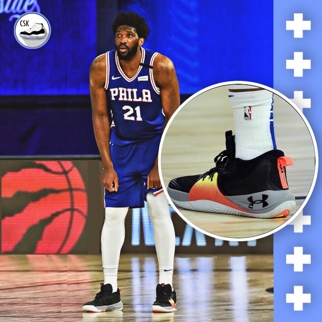 Joel Embiid debuted his new Under Armor Embiid 1's and dropped 23 PTS, 13 REB, & 1 AST! #CourtsideKicks 👟   Follow for more 📲 https://t.co/Z4uIAvvyBs