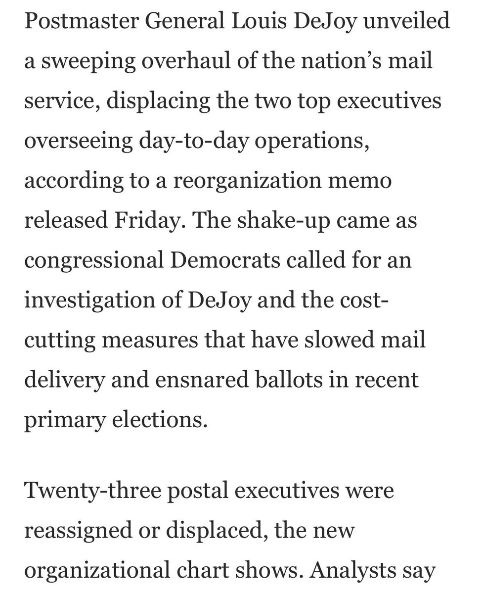 A Friday-night purge at the Post Office. Mail experts ousted. Trump taking over the means of election. We may look back on this as one of the biggest stories of the year. washingtonpost.com/business/2020/…
