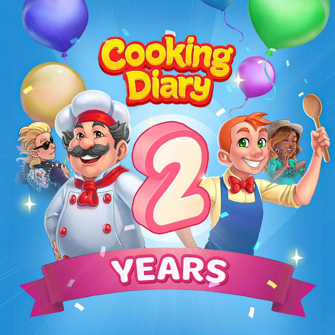 Today our game Cooking Diary turns two years old!🎂🎉 Over these two years, Cooking Diary has become a hit, earned prestigious awards, gained love and recognition from players worldwide.  Thank you for your faith, love, and support♥️ #CookingDiary #mytona https://t.co/gIHgC9NCqj