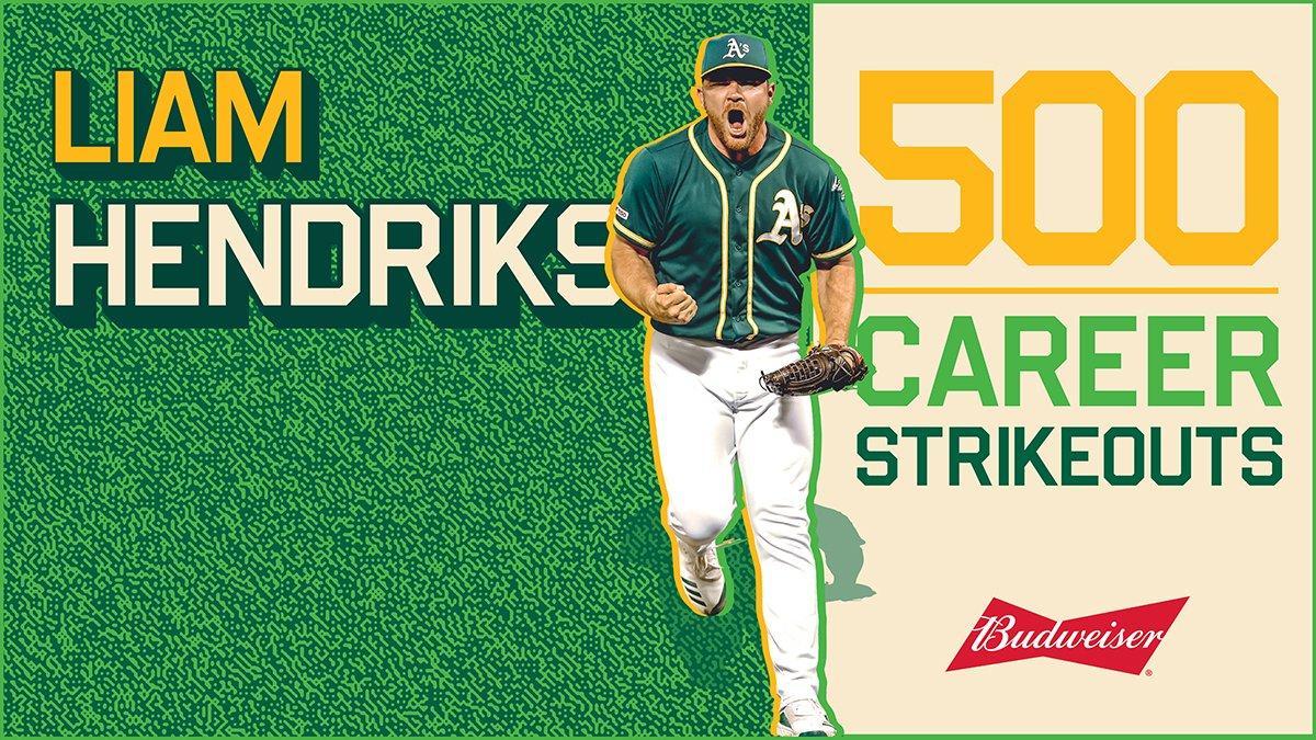 ¡500 ponches en la carrera de Liam Hendriks! 🔥   #OaklandRepresenta https://t.co/3npa5U53KT