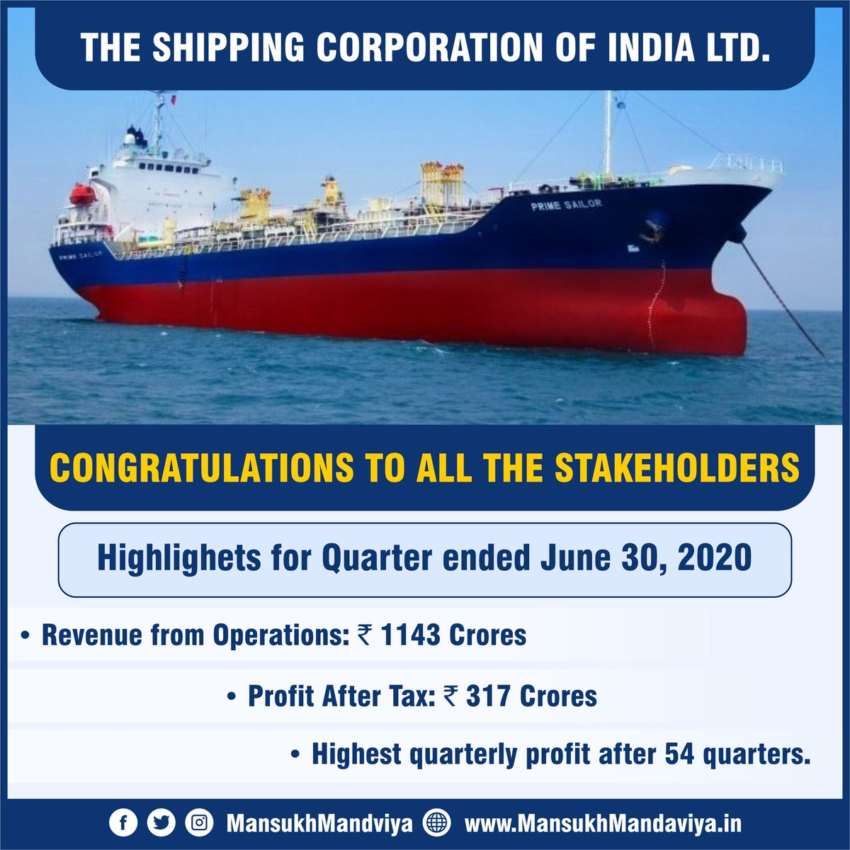 Leadership, vision and execution matters for a company to be successful !  The Shipping Corporation of India made the highest profits in the last 54 quarters amid this pandemic and is now thriving to cross the next milestone. @shippingcorp https://t.co/9WzxaUHL5T