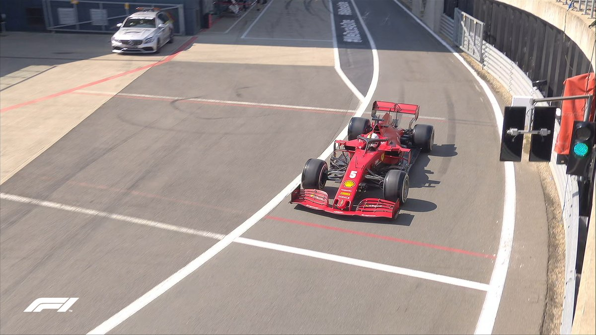 Vettel is first out 🤜🤛 Followed closely by Leclerc  Follow the action 👉 https://t.co/LpbrMcOApM  #F170 🇬🇧 #F1 https://t.co/my8brH05hh