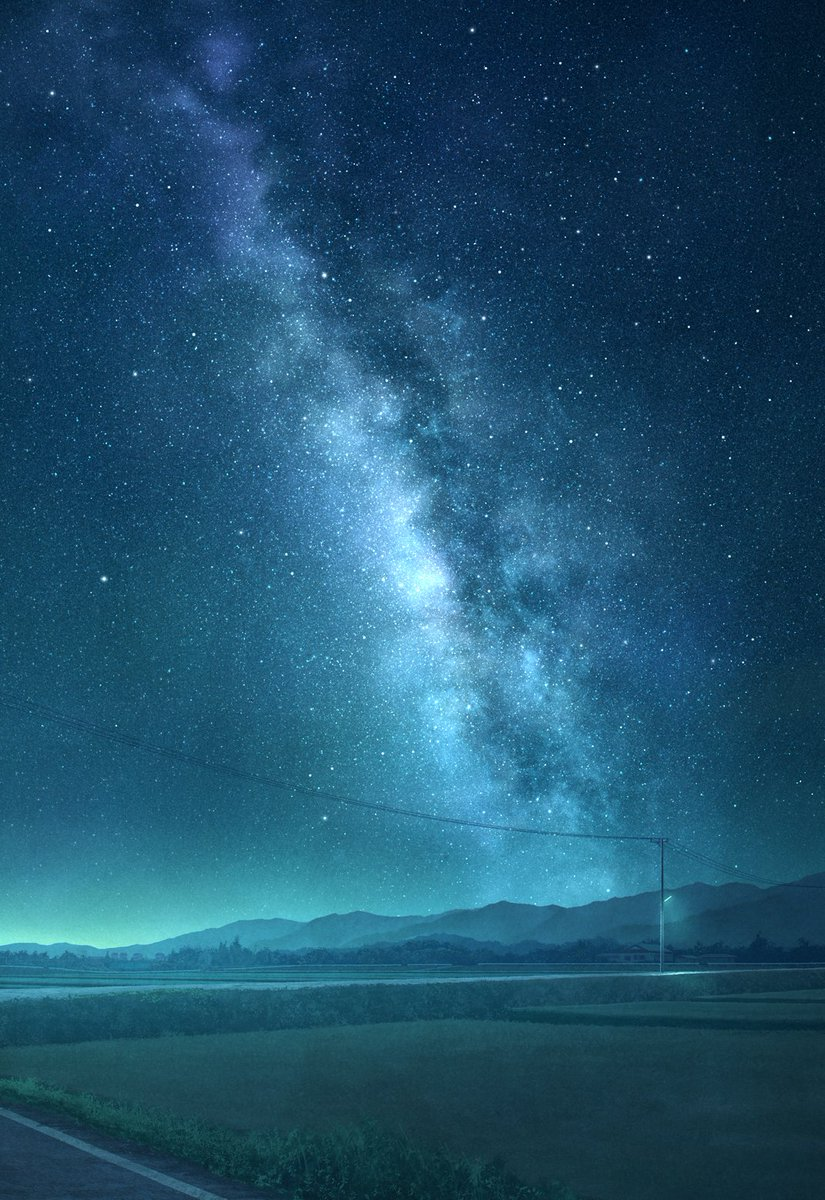 「残夜」シンプルで静かな絵にしました。