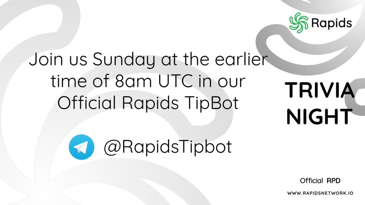 Ce dimanche, à 10h, #Rapids accueillera notre bimensuel #Trivia dans notre Tipbot Room 🔥  👇👇👇👇👇👇👇 https://t.co/PREuXF8Hro  👆👆👆👆👆👆👆  Rejoignez-nous, amusez-vous et gagnez des #RPD  #SocialMedia #Quiz #LinkShare #MobileWallet #Crypto #Giveaway https://t.co/Y1NnhHV2PU