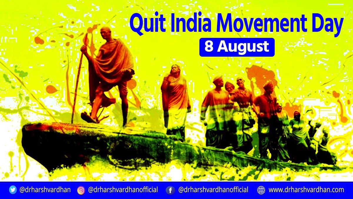 'भारत छोड़ो आन्दोलन' की वर्षगांठ पर उन सभी स्वतंत्रता सेनानियों को भावपूर्ण नमन्, जिन्होंने पहली बार एक जन आंदोलन के माध्यम से ब्रिटिश शासन की नींव को हिलाकर रख दिया था।  इस आंदोलन ने भारत की हर जाति और वर्ग, विशेषकर युवाओं को, स्वतंत्रता संग्राम से जोड़ा था। #QuitIndiaMovement https://t.co/bteHAskcbA