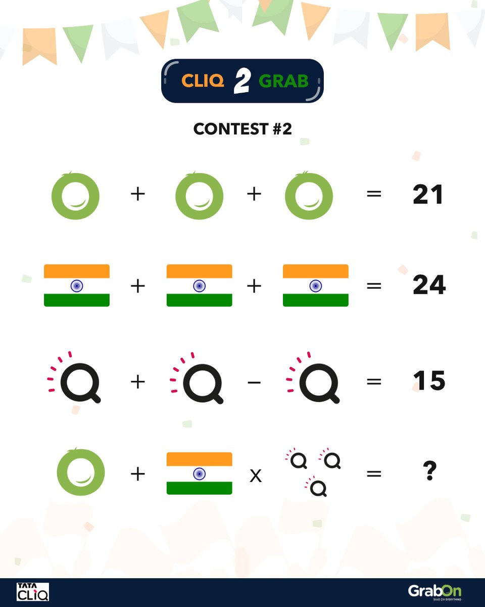 Contest #2 is here!  Who doesn't like an 'easy' maths puzzle?😆  Solve the puzzle and comment your answers below and 2 winners will get Rs. 1500 vouchers each from Tata Cliq.  How to enter: 👉 Like this post. 👉 Follow @grabonindia and @tatacliq 👉 Comment your answer  #Contest https://t.co/vdISCQz1gY