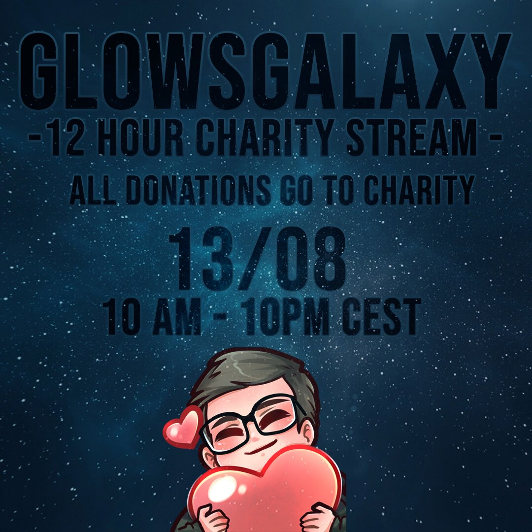 5 days until my 12 hour charity stream! Let's fund an amazing charity together  Retweets are always appreciated!   https://www.twitch.tv/glowsgalaxy  #CharityGaming #charity #twitchaffiliate #TwitchStreamers #twitchstreaming pic.twitter.com/kNkX533S78