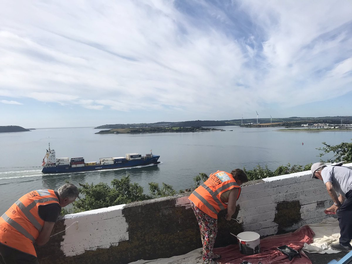 Where else would you want to be 😍 #LoveCobh #CorkHarbour #volunteers #painting #seaside #ships #tidytowns https://t.co/DYTv6gyCOP