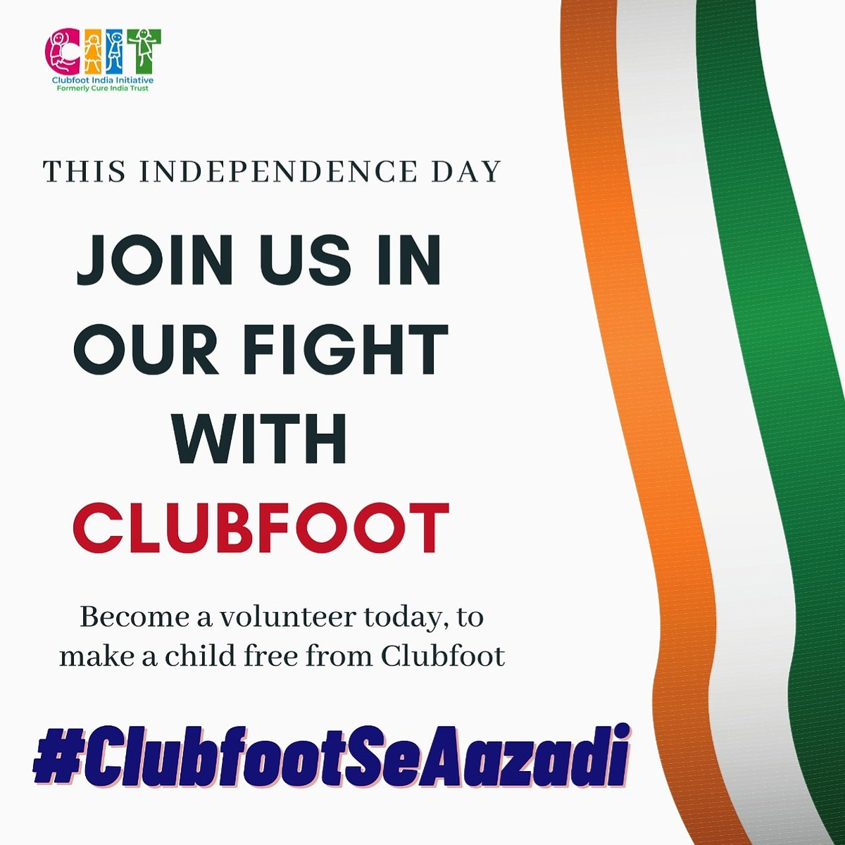 With over 150 children being born with Clubfoot in India every day. Help us defeat this disability & give India #ClubfootSeAazadi Join us at CIIT https://clubfootindia.in/get-involved/ Or donate https://clubfootindia.in/donate/  #clubfootindia #IndependenceDay #IndependenceDay2020pic.twitter.com/imZKxApReO