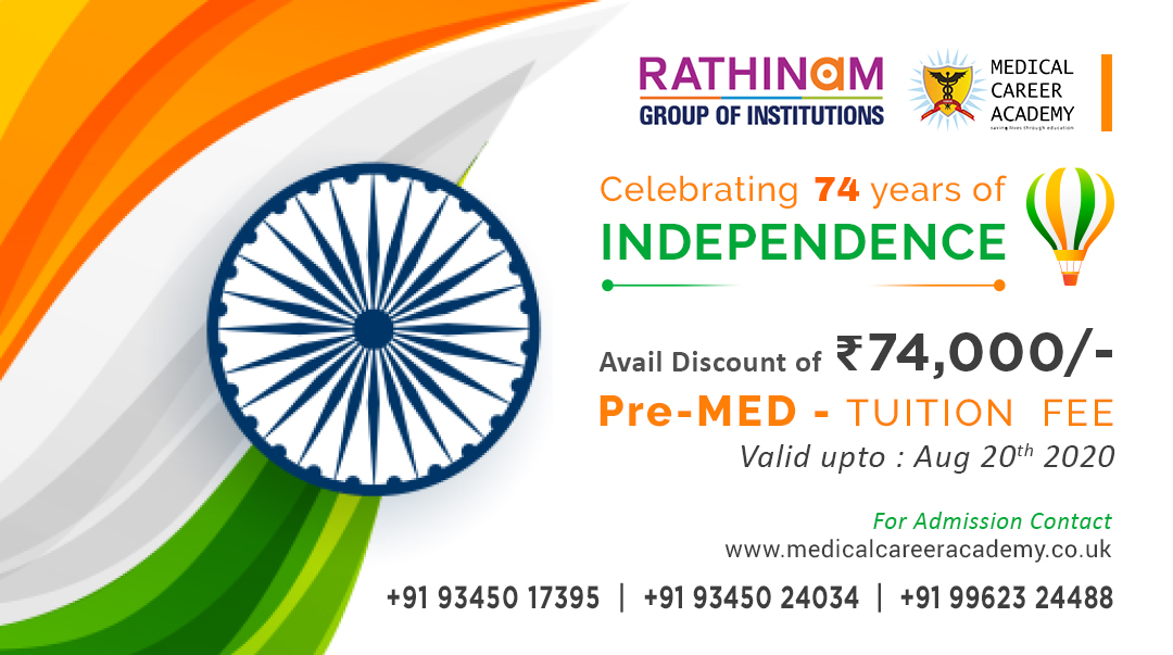 As a proud Indian, on this occasion of Our 74th Independence Day celebration MCA India announce a waiver of INR 74,000 in the Ist year fee for the Pre Medical Course at Rathinaum Campus 2020   For Info:+91 93450 27395 |+91 93450 24034 |+91 96623 24488 #independenceday, #medicinepic.twitter.com/uYogiQVLoQ