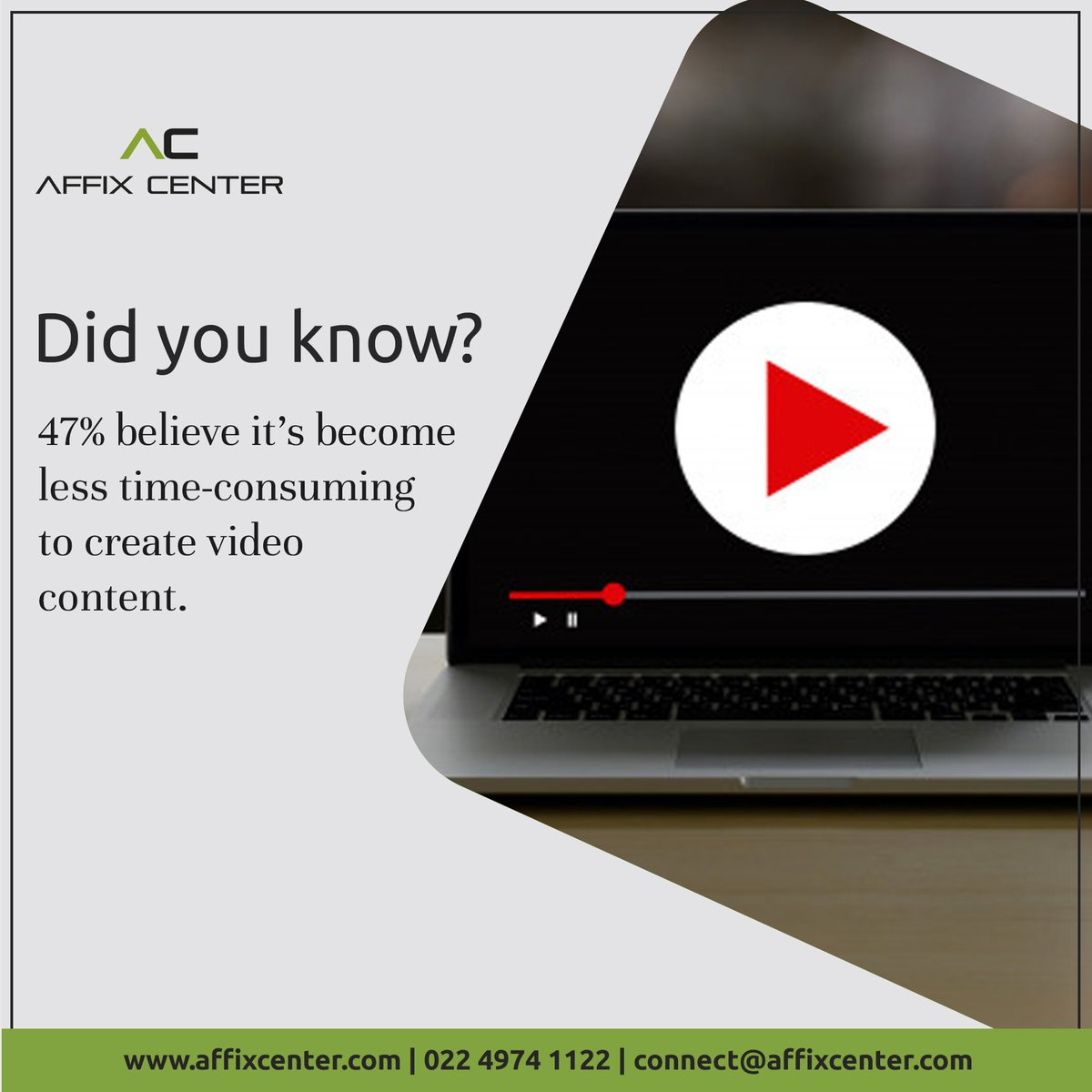Did you Know?  47% believe it's become less time-consuming to create video content.  #videocontent #videomarketing #videoproduction #digitalmarketing #contentcreator #videocreator #contentmarketing #marketing #videocontentmarketing #videos #contentcreation #videographypic.twitter.com/2BvyID5HZ4