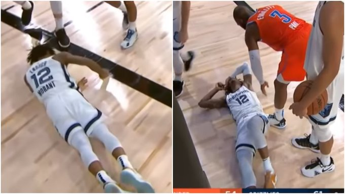 【影片】太暖心!莫蘭特對抗橫著摔倒地上,保羅第一時間趕緊上前關心!